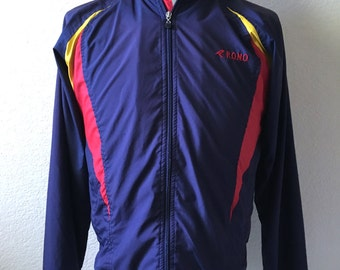 Vintage Men's 90's Rono Jacket, Navy Blue, Running, Windbreaker (M)
