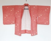 Red Shibori Haori Kimono From Japan With Abstract Leaf Design 二