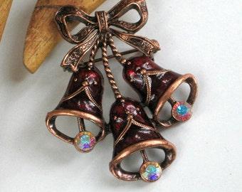 1928 Brooch Pin Maroon Bells Rhinestones Vintage Jewelry