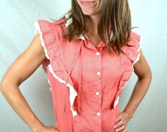 Vintage 1980s Red Plaid Ruffled Summer Button Up Top by SOHO