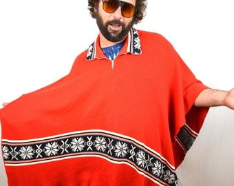 Vintage Boho Mexican Red Pullover Hippie Poncho Sweater Cape Coat