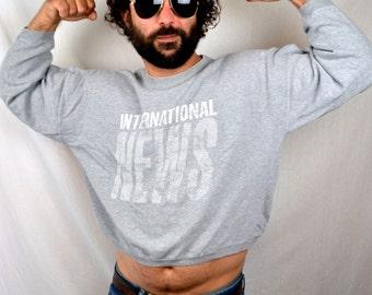 Vintage International News 1980s Cropped Oversized Sweatshirt