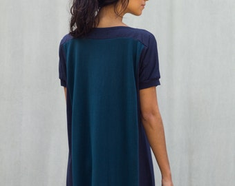Color Block Dress, Women's Dress, Blue Dress, Bamboo Jersey, Tunic- made to order