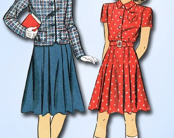 1940s Vintage Du Barry Sewing Pattern 2466 WWII Girls Dress and Jacket Size 12