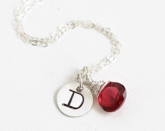 Personalized Initial and Birthstone Necklace / July Birthstone Necklace / Push Present July Baby / Sterling Silver First Initial Necklace