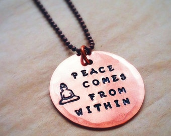 ZEN COPPER CHARM with Buddha Design Stamp - 1.25 Inch Hand Cut and Stamped 18 gauge Copper Disc - Peace Comes From Within