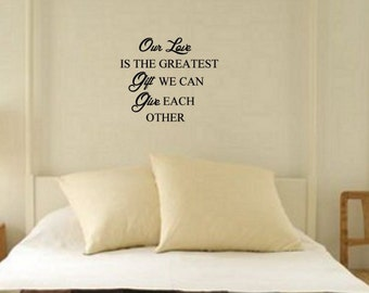 Love Quote Vinyl Wall Decal Inspiration Marriage Wedding Anniversary Wall Words Quote Sticker Window Mirror Mural Letters 27 x 23 inches