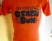 Florida Beach Bum 1980s vintage tee shirt orange size medium