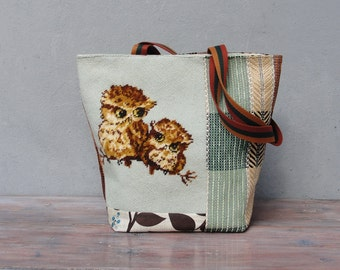 Embroidered Owl Tote Patchwork Purse Natural Woodland Bag