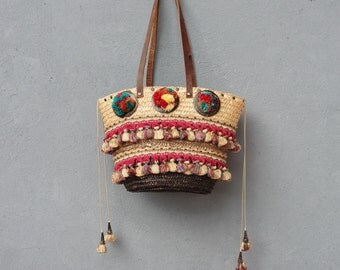 Bohemian Summer Bag, Pompom Boho Bag, Vintage tassel trims, pompoms, Leather Straps