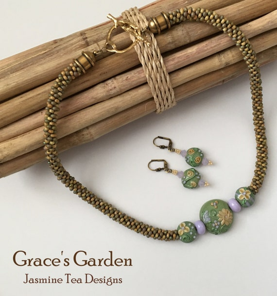Grace's Garden Beaded Kumihimo Necklace and Earrings, Artisan Lampwork Beads with Opaque Lilac and Spring Green, Venetian Glass Beads, SALE