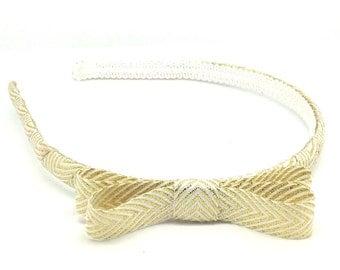 Winter White and Gold Chevron Holiday Bow Headband - Little or Big Girl Headband, Adult Headband - New Years Eve Headband