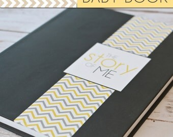 Baby Book/Baby Journal/Gender Neutral - Solid Grey with Chevron Print Cover,Perfect Bound (Pregnancy - 5 Years)