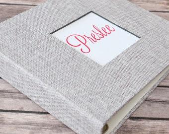PRE-ORDER//Baby Book, Baby Gift, Baby Album, Baby Memory Book, Baby Keepsake, Modern Baby Book, Vintage Silver Burlap