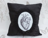 Anatomic heart  pillow  cushion black damask floral