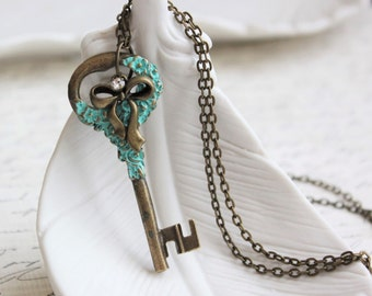 Secret Garden Turquoise Key Necklace. Large Key