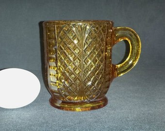 Early American Pattern Glass Mug / Antique Amber Pressed Glass Mug 415 / 1880s Amber Pattern Glass Mug / EAPG Amber Mug