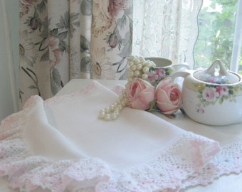 Runner, Crochet Edge, White and Pink, French Country, Shabby Cottage, Shabby French, by mailordervintage on etsy
