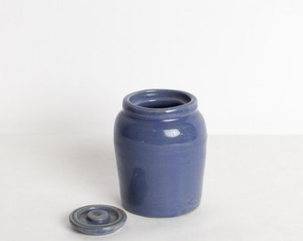 Vintage Small Blue Ceramic Pot with Lid