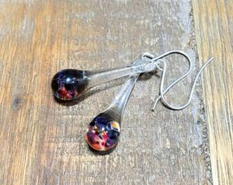 Blown Glass Earrings Multi Color Dangle Lampwork Boro and Silver (ECMC)