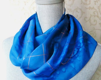 Silk Scarf Hand Dyed in Sapphire Blues with Gold Accent