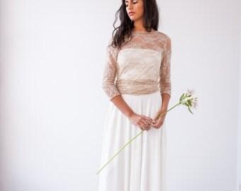 Lace wedding dress with sleeves, long sleeve wedding dress, lace bridal gown, boho wedding dress, bohemian bride, vintage wedding dresses