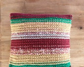 Knit Cushion / Knit Pillow / Bohemian Pillow / Pillow Case / Burgundy / Green / Boho Pillow Case / Bohemian Throw / Sofa Throw / Ethnic