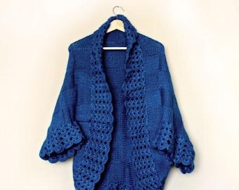 Bohemian Cardigan / Hand Knit Cardigan / Womens Knit Cardigan / Oversized Shrug / Electric Blue Knit Cardigan / Chunky Knit Cardigan / Gift