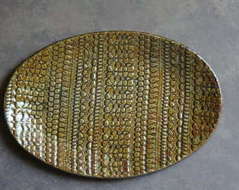 Decorative, amber, oval, ceramic platter