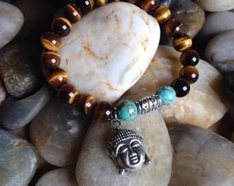 Buddha Tiger Eye Mala Bracelet