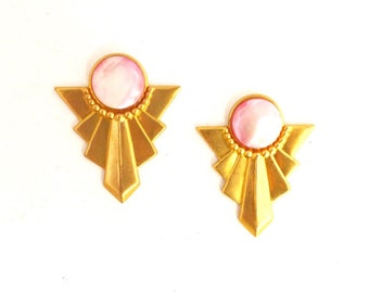 2 Vintage Art Deco Style Brass Stampings with Pink Marbled Cabochon