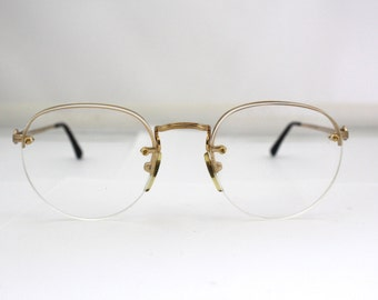 Designer Giorgio Armani Off Round rimless Lens Eyeglasses //Faux metal Tortoiseshell  and gold // Made in Italy // model  161 795