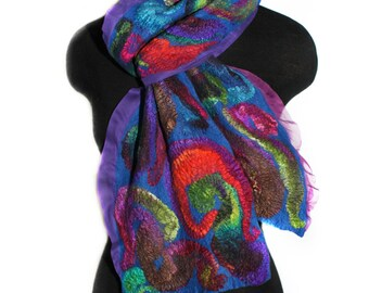 Nuno Felted Handmade Scarf Multicolor Hand Dyed Wool Silk Felt Scarf OOAK Gift Winter Fashion Accessory