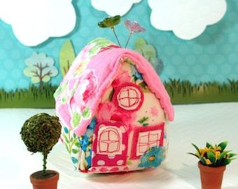 Pincushion Little House Pincushion, Rosy Posy Prints, Ready To Ship