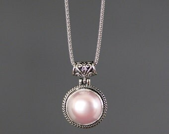 Pink Pearl Necklace - Bali Silver Necklace - Single Pearl Necklace - Pink Pearl Pendant - Bridal Jewelry - Statement Jewelry - Gift for Her