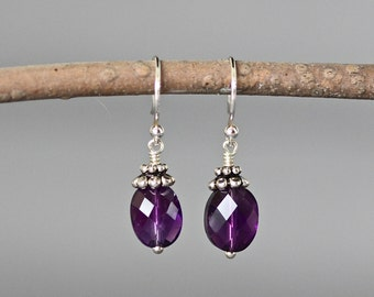 Faceted Amethyst and Silver Earrings - Purple and Silver Gemstone Dangle Earrings - Bali Silver Earrings - February Birthstone - Small Gift