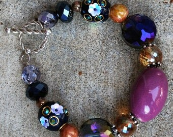 Luxurious purple crystal & glass bracelet, chunky Crystal sterling silver Bracelet, Chunky purple Crystal Bracelet, sterling silver purple