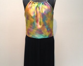 Bohemian Halter Top - ties in the back - Hand dyed silk