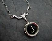 Typewriter Key Necklace - Simple Elegance - Letter J