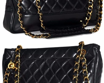 """CHANEL Paris 12.75"""" Inch Quilted Lambskin Leather Tote Handbag With Gold Chain Shoulder Bag"""