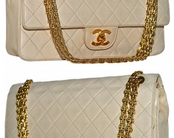 "CHANEL Paris 9.85"" Inch Quilted Lambskin Leather Double Flap Handbag With Gold 2 Way Convertible Chain Shoulder Bag"
