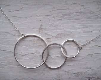 Sterling Silver Three Loop Necklace.