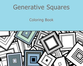 Adult Coloring Book Generative Squares, by generative artist Kristin Henry. Math, Science, Chemistry. colouring color therapy geeky gift