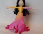 Waldorf Flower Fairy Doll - Hot pink, orange and yellow Art Doll, Worry Doll, Faery, elemental