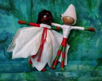 Christmas elf fairy couple - Waldorf Flower Fairy Doll - Poinsettia Flower Fairy Couple