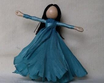 Turqouise Hibiscus Waldorf Flower Fairy Art Doll - Fairy Doll
