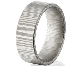 New 8mm Wide Damascus Steel Ring - DS-8F