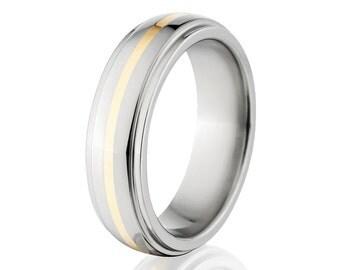 New 6mm Titanium Wedding Ring With 14k Yellow Gold Inlay, Free Sizing Jewelry 4-17