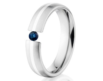 Tension Set Ring, 5mm, Uniequly You, Two Toned Titanium and Sterling Silver, Sapphire, 5HR11G-SS-BR