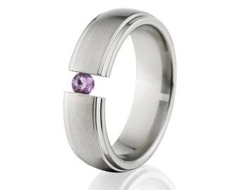 Tension Set Ring, Uniquley You, Titanium Ring, Amethyst, 7HRRC-B-Tension